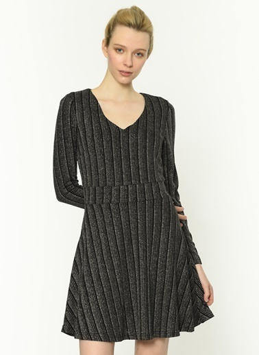 Twist V Yaka Metalik Çizgili Elbise Siyah